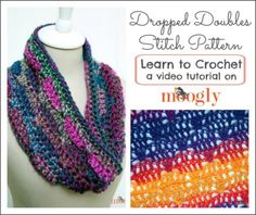 Dropped Doubles Stitch Pattern: Learn to #crochet this fun stitch with a video tutorial and chart on Mooglyblog.com!