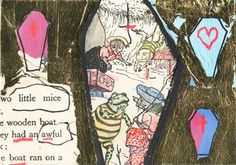 Dan Baldwin - Little Mice (Collage, acrylic and gold leaf) Created for Art on a Postcard