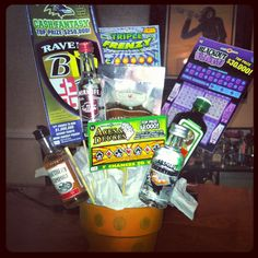 Perfect for any occasion. Just added mini liquor bottles, fav snacks, and scratch off's! Nice Gifts, Special Gifts, Christmas Ideas, Christmas Gifts, Xmas, Liquor Gift Baskets, Liquor Bouquet, Man Bouquet, Mini Liquor Bottles