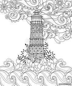 Vector: Hand drawn doodle outline lighthouse decorated with floral ornaments.Vector zentangle illustration.Floral ornament.Sketch for tattoo, poster or coloring pages.Boho style.