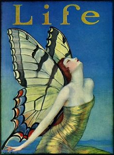 Butterfly - 1923 - Life magazine, cover - Illustration by Władysław Teodor Benda Art Vintage, Vintage Posters, Art And Illustration, Butterfly Illustration, Illustrations Posters, Cover Art, Journal Vintage, Butterfly Fairy, Butterfly Wings