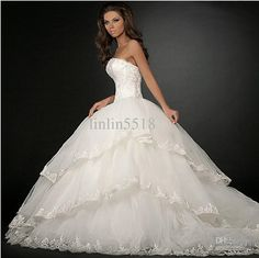 Wholesale 2013 Luxury Organza Big Skirt Bride Ball Gown Wedding Dresses 2013 buy Dress Get Gloves And Veil, Free shipping, $164.77/Piece | DHgate