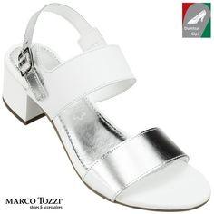 Marco Tozzi női bőr szandál 2-28348-20 191 fehér ezüst kombi e9901a6908
