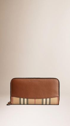 Burberry Tan Horseferry Check and Leather Ziparound Wallet - Ziparound wallet in jaquard-woven Horseferry check with leather trim and panel. Discover more accessories at Burberry.com