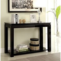 #charity Features: Finish: Black Materials: MDF, Veneers, Glass High gloss finish Double-decked top Open #shelf for storage or display Decor and accessories not ...