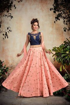 Perfect peach pink lehenga with crop top set for your engagement #Frugal2Fab