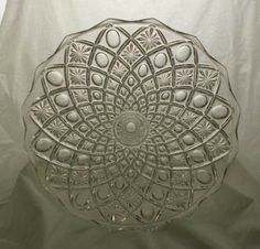 Crystal Bohemia Czechsolvokia Thumbprint & Star Design Clear Footed Cake Plate #CyrstalBohemiaofCzechsolvokia