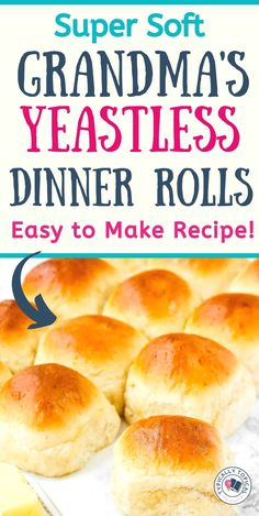 The Most Delicious Kneadless Yeastless Dinner Brea Easy Homemade Rolls, Easy Yeast Rolls, Homemade Dinner Rolls, Bread Rolls, Homemade Breads, Homemade Biscuits, Quick Dinner Rolls, No Yeast Dinner Rolls, Dinner Rolls Recipe