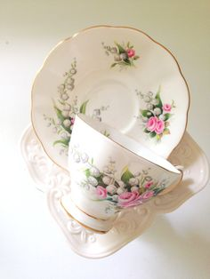English Bone China Royal Albert Lily of the Valley Pattern Tea Cup and Saucer Tea Party Malvern Shape Ca. 1960's - 1970's