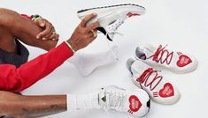 Your first look at this loved-up collaboration between adidas and Human Made – with a special surprise from Pharrell Williams! Jd Sports, Pharrell Williams, Sneaker Brands, Red Lace, Yeezy, Nike Air Force, Sneakers Fashion, Reebok, Street Wear