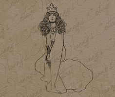 Princess Clip Art Illustration Vintage Digital by nannyscottage, $2.00