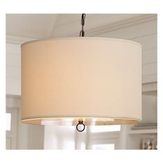 Pottery Barn Linen Drum Hardwire Pendant ($244) via Polyvore featuring home, lighting, ceiling lights, linen drum chandelier, alabaster chandelier, drum shade, linen drum shade and drum shades