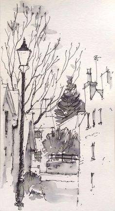 A quiet corner of Ilkley, North Yorkshire -quick sketch