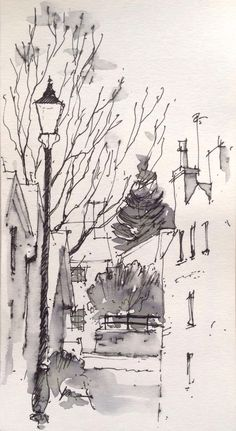 A quiet corner of Ilkley, North Yorkshire -quick sketch