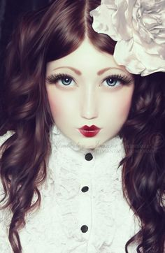 Beautiful Porcelain Doll Face Glass eyes and porcelain skin