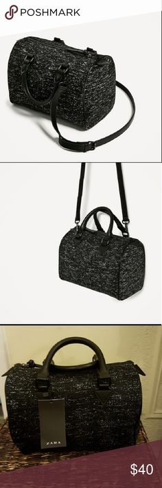 Zara fabric bowling bag Black bowling bag with shimmer thread and lined pocket. Adjustable and detachable shoulder strap. H 8.2 x W 11 x D 6.6 Zara Bags