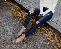 Fashion Hollow Jean Pencil Pants Ripped Skinny Jeans, Skinny Pants, High Jeans, High Waist Jeans, Jean Destroy, Look Jean, Jeans Boyfriend, Streetwear, Jeans Denim