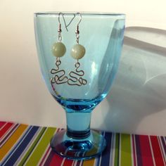Earrings in pale green with unique pendants and  by SaijaSkills, €8.00