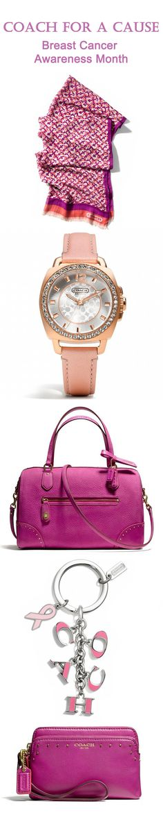 Think Pink!  It's Breast Cancer Awareness Month.  Here are some Coach accessories contributing to The Breast Cancer Research Foundation Oct 2013. http://www.coach.com/online/handbags/genWCM-10551-10051-en-/Coach_US/StaticPage/bcrf?navCatId=5000000000000363306&LOC=HN2#