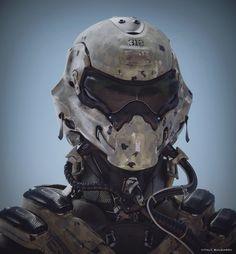 Soldier helmet for a human person. Soldier Helmet, Helmet Armor, Airsoft Helmet, Suit Of Armor, Tactical Helmet, Futuristic Helmet, Futuristic Armour, Armor Concept, Concept Art