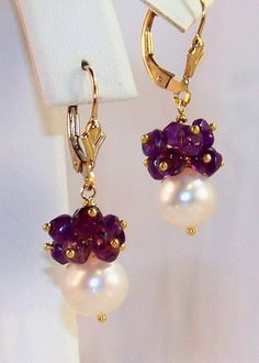 14K GF Cultured Pearl Amethyst Gemstone Cluster Earrings- Fleur de Lis Yellow Gold- Jewelry Gift
