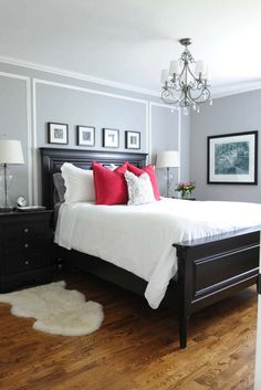 Bedroom design black furniture small master bedroom ideas wooden bed and headboard pop pillows side tables chandelier small white bedroom color ideas dark Small Master Bedroom, Master Bedroom Design, Home Bedroom, Bedroom Ideas, Bedroom Designs, Red Master Bedroom, Bedroom Retreat, Bedroom Modern, Trendy Bedroom