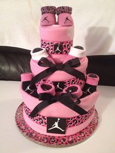 New NIKE Air Jordan Baby diaper Cake Pink Zebra Print Awesome Baby Shower Gift