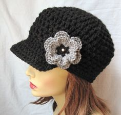 Womens Hat, Teens Newsboy, Black, Gray, Pearl, Flower, Jewelry, Weddings, Birthday Gifts, Photo Prop, JE148NML. $34.00, via Etsy.