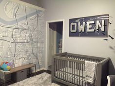 Navy and Gray Nursery with Map Mural - Project Nursery