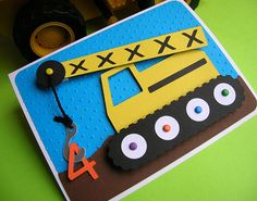 Construction Crane Personalized Birthday Party Invitation (set of 8) on Etsy, $27.17 CAD
