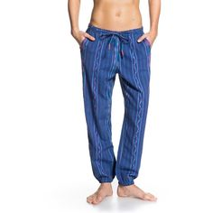 Roxy Midnight Rambler Stripe Pant featuring polyvore, fashion, clothing, pants, blue, harem trousers, print pants, patterned pants, patterned harem pants and tapered harem pants