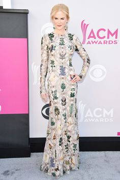 Nicole Kidman topped the best dressed of the week with this botanical inspired Alexander McQueen gown at the ACM Awards.