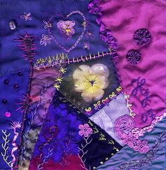 I ❤ crazy quilting & embroidery . . .  Magic Violet ~By Helena Geitel