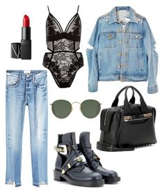XO by theaclemetsen on Polyvore featuring polyvore, fashion, style, Frame, River Island, Balenciaga, Alexander Wang, Ray-Ban, NARS Cosmetics and clothing