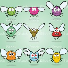 Vector Collection of Funny Flying Insect Monsters royalty-free stock vector art