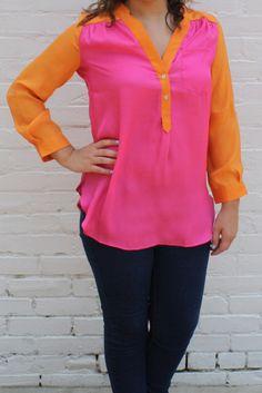 Color Me Happy Blouse- Pink/Orange