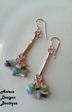 Sea Glass Cluster Long Copper Earrings