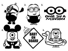 Minion Vinyl Decals - Decal Stickers - Baby on Board Vinyl Decal by DesignedbyDarah on Etsy Minions 4, Minion Art, Sports Decals, Vinyl Decals, Minion Stencil, Minion Tattoo, Minion Baby Shower, Tattoo Flash Sheet, Anchor Monogram