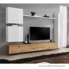 Obývacia stena SWITCH VIII WWT SW8 ŠxVxH: celá zostava 280x180x40 cm biela mat.-wotan/biela lesk-wotan WWW.NABYTOKSHOP.SK #nabytokshop#nabytok#shop#novinka#slovensko#internetovyobchod#interier#izba#obyvacka#obyvaciastena#dizajn#drevo#wotan#biela#switch#furnituredesign#furniture#designhome#design#home#room#new#livingroom#white#wood#modern#elegant#inspiration#wwwnabytokshopsk Tv Wall Design, House Design, Modern Tv Wall Units, Living Room Tv Unit, Home And Deco, Furniture Decor, Lounge, White Wood, Blog
