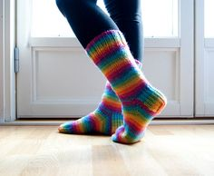 Hand knitted socks  neon rainbow colorful by sofiasobeide on Etsy, €29.50