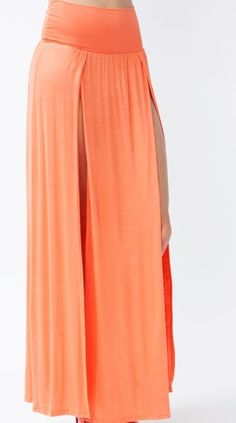 High Waist Banded Maxi Skirt With Slit - PEACH/CORAL. Easy DIY for the beach this summer
