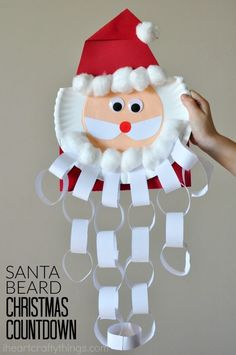 This Santa beard Christmas countdown craft is perfect for keeping kids excited about Christmas all month long. Cut off a paper chain from Santa's beard every day in December to count down to Christmas Day. Fun Christmas Craft for kids, Santa Craft and Christmas Countdown Crafts, Countdown For Kids, Christmas Crafts For Kids To Make, Christmas Activities For Kids, Preschool Christmas, Holiday Crafts, Santa Countdown, Christmas Paper Chains, 3d Christmas