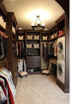 walk in closet with washer dryer