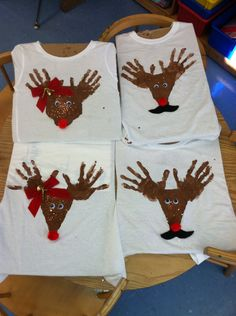 Chiffon Smith's reindeer kindergarten Christmas shirts!
