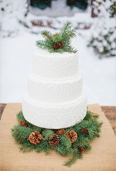 Brides.com: . Greenery isn't just for your tables! Top your cake with bundles of evergreen sprigs and pinecones for an understated wintry touch.