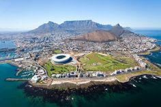 Aerial view of Cape Town. Overall aerial view of Cape Town, South Africa , South Africa Tours, Cape Town South Africa, Holiday Destinations, Vacation Destinations, Cap Vert, Cheap Holiday, Holiday Ideas, Most Beautiful Cities, Africa Travel