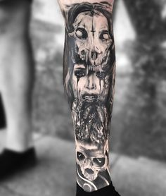Perfect black and grey horror tattoo done by artist Joey Boon from Netherlands