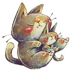 hachiware brother and by frankenji on DeviantArt Watercolor Cat, Rooster, Brother, Kitten, Deviantart, Animals, Cute Kittens, Kitty, Animales