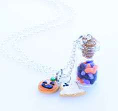 Real Halloween Sprinkles in a Glass Jar with Polymer Clay Ghost and Pumpkin Cookie Charms Necklace