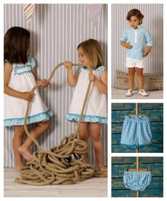Para los hermanos: A Gatas, Verano 2014 Little Girl Dresses, Girls Dresses, Cute Dresses, Moda Blog, Kids Wardrobe, Baby Couture, Pinafore Dress, Sewing For Kids, Matching Outfits